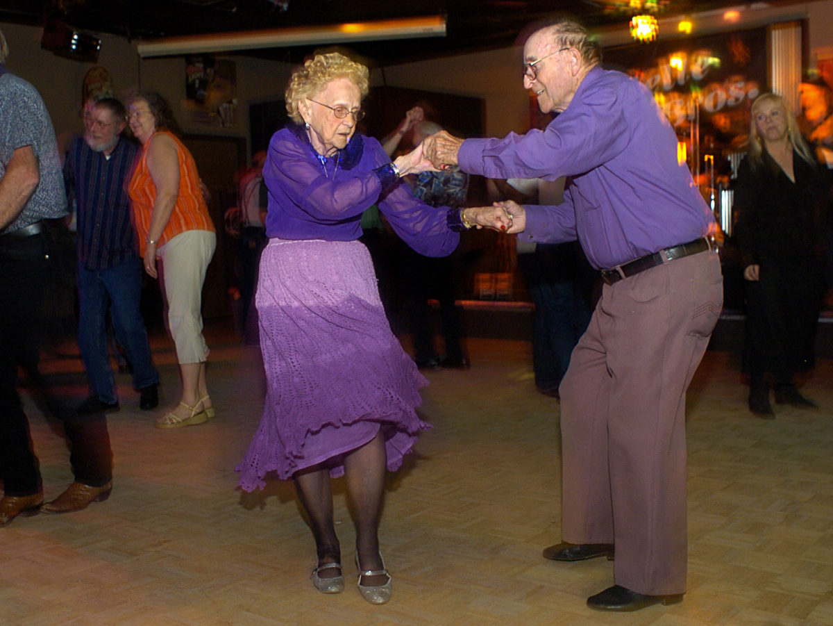 """Every night of the week Ginger Arn and Warren Haycock can be found out dancing. Thursday nights they dance at RG's at U.S. 40 Highway and the Blue Ridge Cut-Off. Dancing partners for the last four years, Ginger is now 92-years-old and Warren 81. The couple will be dancing in the Blue Springs Chamber event, """"Dancing With the Stars"""" April 25 at the Adams Pointe Conference Center. 4.19.07 Julie Scheidegger"""